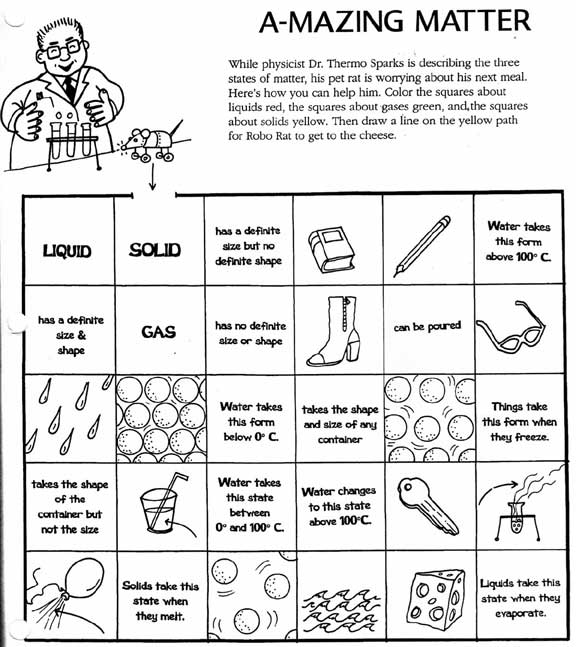Printables Physical And Chemical Properties Of Matter Worksheet chemistry solid liquid gas worksheet