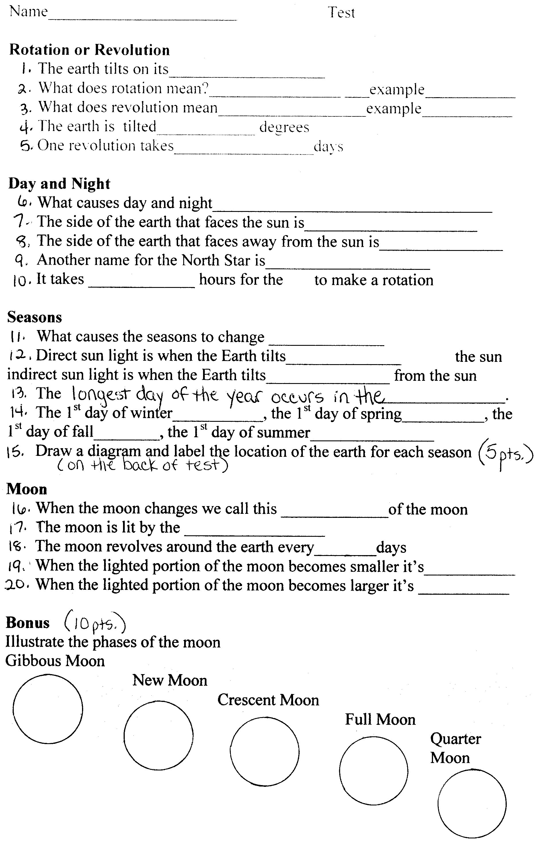 Earth In Space Worksheet Answers - Deployday
