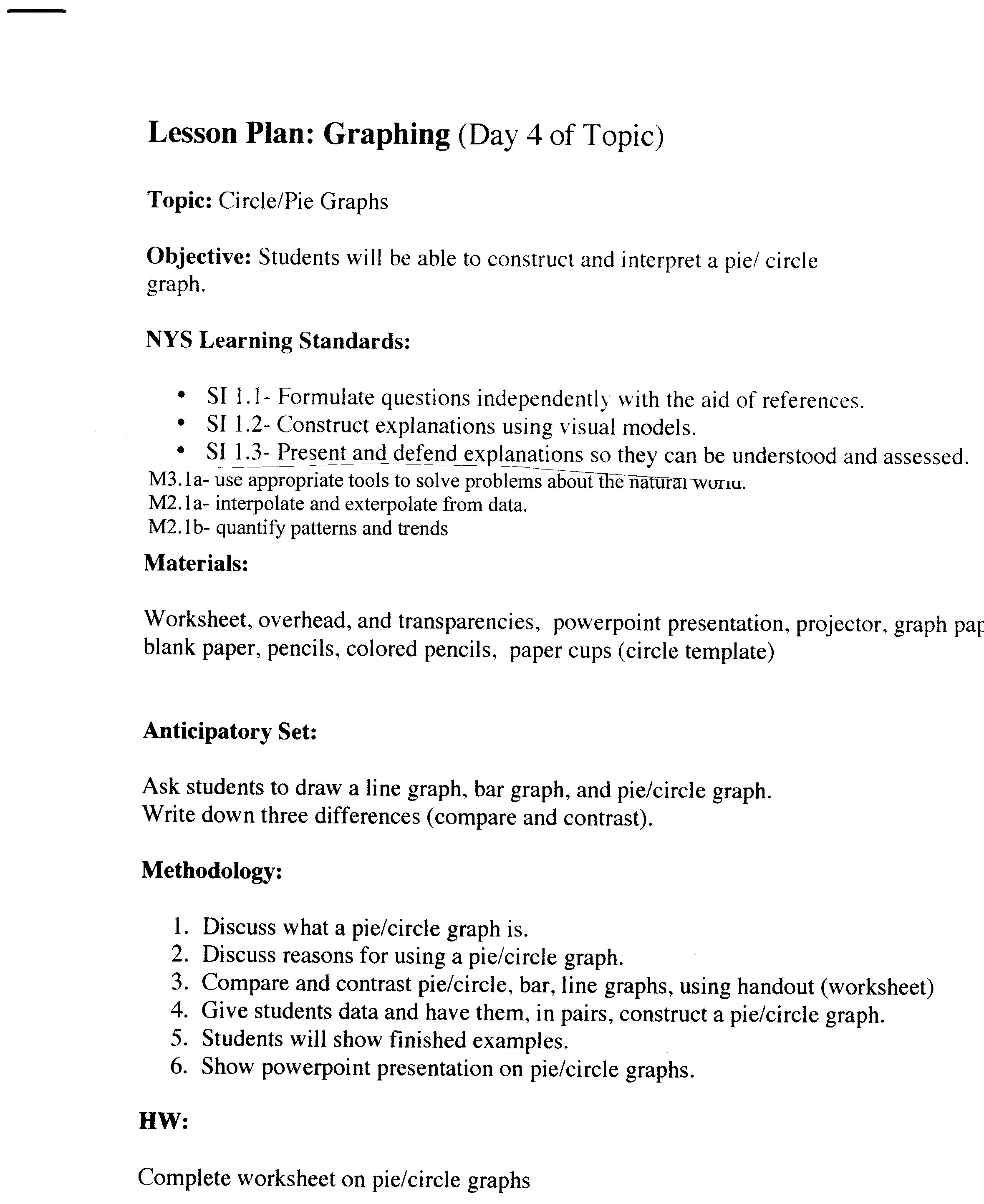 worksheet Circle Graphs Worksheets science skills worksheet pie graphs lesson